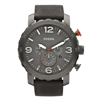 Buy Fossil Gents Nate Black Leather Strap Watch JR1419 online