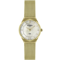 Buy Rotary Ladies Ultra Slim Gold Tone Mesh Bracelet Watch LB02613-40 online