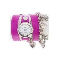 Buy La Mer Ladies Charm And Chain Purple Leather Watch LMCW7001 online