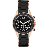 Buy Marc by Marc Jacobs Ladies Rock40 RG Black Silicone Rose Gold Tone Bracelet Watch MBM2553 online