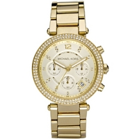 Buy Michael Kors Ladies Gold Tone Stone Set Chronograph Bracelet Watch MK5354 online