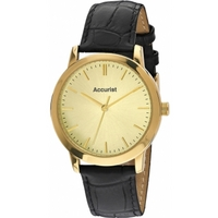 Buy Accurist Gents Black Leather Strap Watch MS671G online