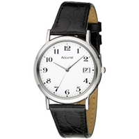 Buy Accurist Gents Black Leather Strap Watch MS708WA online