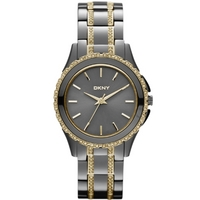 Buy DKNY Ladies Stone set Gun Metal Steel Bracelet Watch NY8700 online