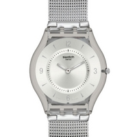 Buy Swatch Unisex Silver Tone Bracelet Watch SFM118M online