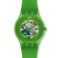 Buy Swatch Unisex Green Lacquered Skeleton Watch SUOG103 online