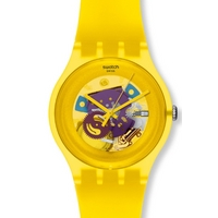 Buy Swatch Unisex Yellow Lacquered Skeleton Watch SUOJ100 online