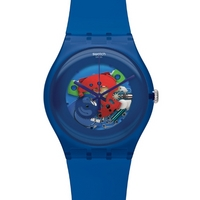 Buy Swatch Unisex Blue Lacquered Skeleton Watch SUON101 online