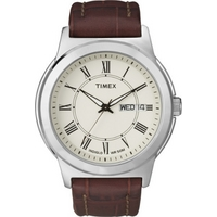 Buy Timex Gents Classic Brown Leather Strap Watch T2E581D7 online