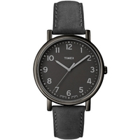 Buy Timex Gents Analogue Black Leather Strap Watch T2N956 online
