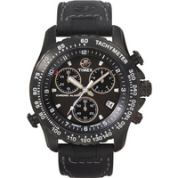 Buy Timex Gents Chronograph Black Leather Strap Watch T42351SU online