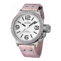 Buy T W Steel Canteen Pink Ladies Stone Set Watch TW36 online