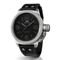 Buy T W Steel Canteen Automatic 45mm Black Leather Strap TWA200 online