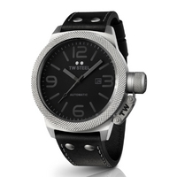 Buy T W Steel Canteen Automatic 50mm Black Leather Strap TWA201 online