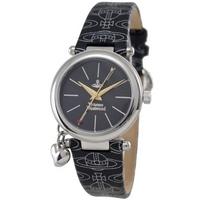 Buy Vivienne Westwood Ladies Orb Black Leather Strap Watch VV006BKBK online