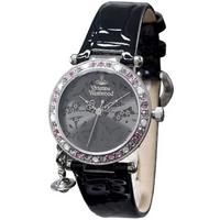 Buy Vivienne Westwood Ladies Orb Black Leather Strap Watch VV006GYBK online