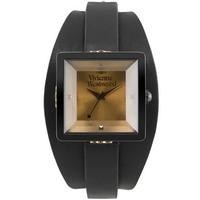 Buy Vivienne Westwood Ladies Cube Black Leather Strap Watch VV008BKBK online