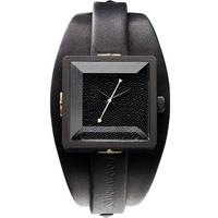 Buy Vivienne Westwood Ladies Cube Black Leather Strap Watch VV008MBKBK online