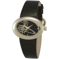 Buy Vivienne Westwood Ladies Ellipse Black Leather Strap Watch VV014GD online