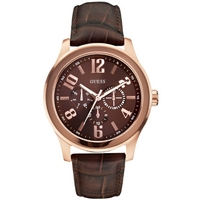 Buy Guess Gents Rose Gold Tone Leather Strap watch W0008G3 online