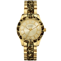 Buy Guess Ladies Gold Tone Leopard Print Watch W0014L2 online