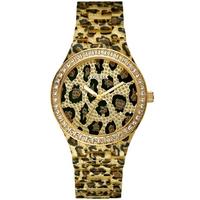 Buy Guess Ladies Gold Tone Leopard Print Bracelet Stone Set Watch W0015L2 online