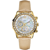Buy Guess Cream Leather Strap Gold Tone Steel Case Watch W0017L2 online