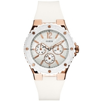 Buy Guess Ladies Gold Tone White Rubber Strap Watch W10614L2 online