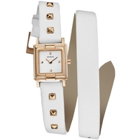 Buy Guess Ladies Gold Tone Case White Leather Strap Watch W85123L2 online