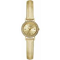 Buy Guess Ladies Gold Tone Stone Set Leather Strap Watch W90074L1 online