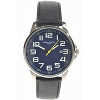 Buy Simon Carter Gents Black Leather Strap Watch WT1600BL online
