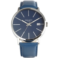 Buy Simon Carter Gents Blue Leather Strap Watch WT1905BL online