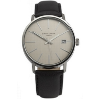 Buy Simon Carter Gents Black Leather Strap Watch WT1905G online