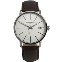 Buy Simon Carter Gents Brown Leather Strap Watch WT1905W online
