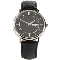 Buy Simon Carter Gents Black Leather Strap Watch WT1909BK online