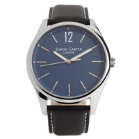 Buy Simon Carter Gents Black Leather Strap Watch WT2003BL online