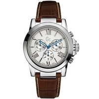 Buy Gc Gents Chronograph Brown Leather Strap Watch X41003G1 online