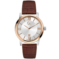 Buy Gc Gents Brown Leather Strap Watch X60002G1S online