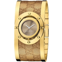 Buy Gucci Ladies G Line Gold Tone And Leather Bangle Watch YA112434 online