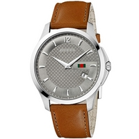 Buy Gucci G-Timeless Gents Brown Leather Strap Watch YA126302 online