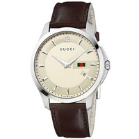 Buy Gucci G-Timeless Gents Brown Leather Strap Watch YA126303 online