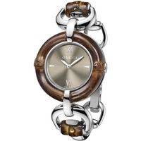 Buy Gucci Ladies Bamboo Wooden and Silver Tone Bracelet Watch YA132402 online
