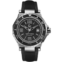 Buy Gc Gents Black Dial Black Leather Strap Watch X79006G2S online