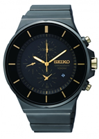 Buy Seiko Mens Black Steel Chronograph Watch - SNDD57P9 online