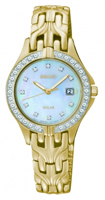 Buy Seiko Solar Ladies Crystal Set Gold-plated Watch - SUT086P9 online