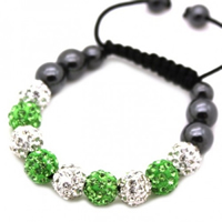 Buy Shamballa Clear and Green Crystal Unisex Bracelet - SHAMBRAC-183 online