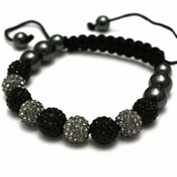 Buy Shamballa Black and Grey Crystal Unisex Bracelet - SHAMBRAC-64 online