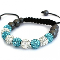 Buy Shamballa Clear and Turquoise Crystal Unisex Bracelet - SHAMBRAC-68 online