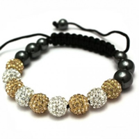 Buy Shamballa Gold and Clear Crystal Unisex Bracelet - SHAMBRAC-70 online