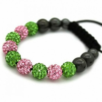 Buy Shamballa Green and Pink Crystal Unisex Bracelet - SHAMBRAC-71 online